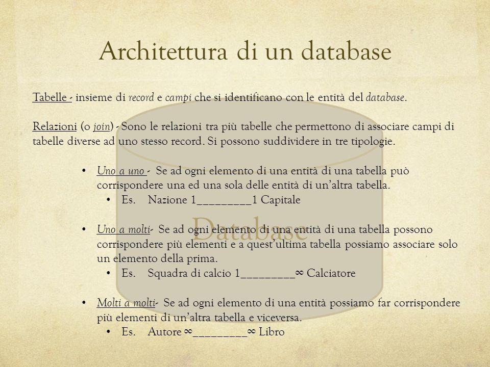 Database Tabelle - insieme di record e campi che si identificano con le entità del database. Relazioni (o join ) - Sono le relazioni tra più tabelle c