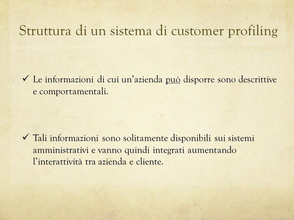 Struttura di un sistema di customer profiling Le informazioni di cui unazienda può disporre sono descrittive e comportamentali. Tali informazioni sono