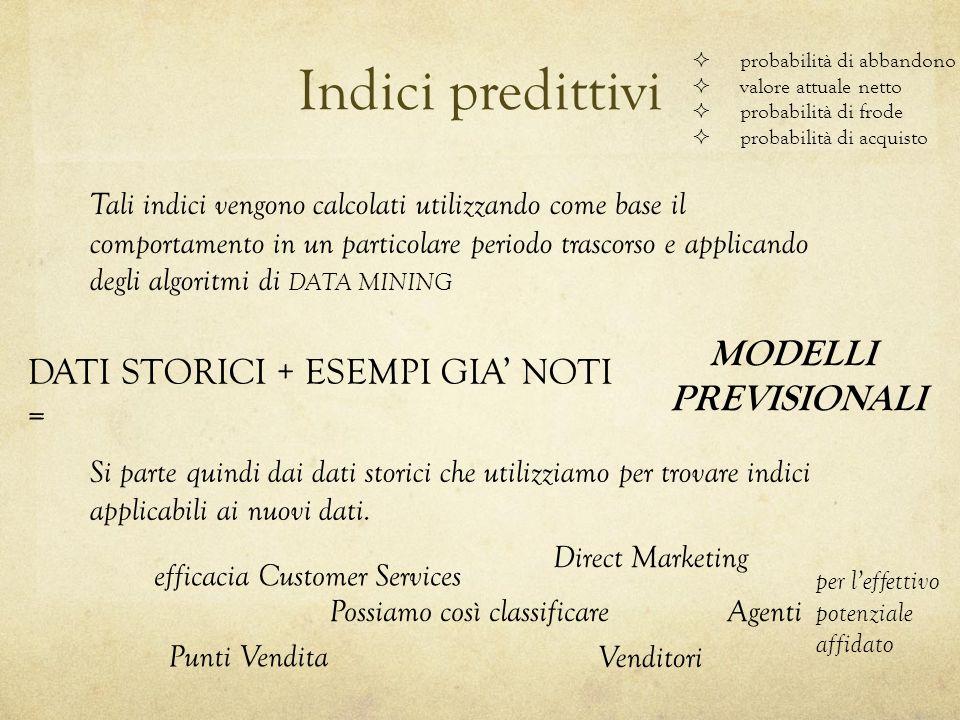 Indici predittivi probabilità di abbandono valore attuale netto probabilità di frode probabilità di acquisto Tali indici vengono calcolati utilizzando