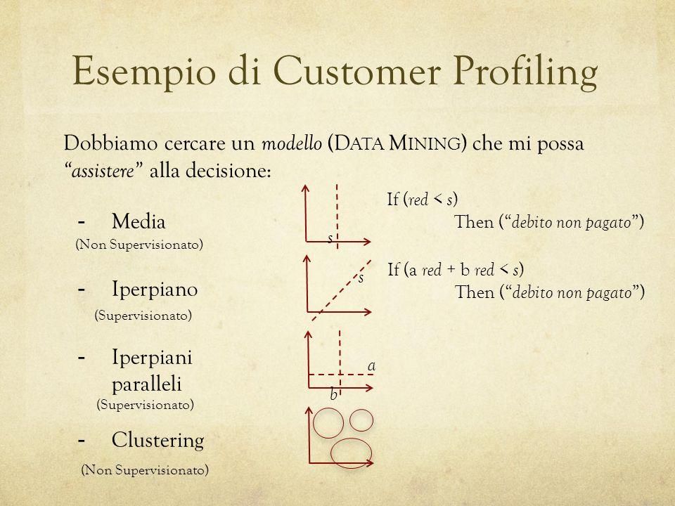 Esempio di Customer Profiling Dobbiamo cercare un modello (D ATA M INING ) che mi possa assistere alla decisione: -Media -Iperpiano -Iperpiani paralle