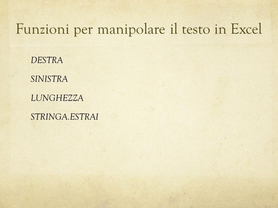 Funzioni per manipolare il testo in Excel DESTRA SINISTRA LUNGHEZZA STRINGA.ESTRAI