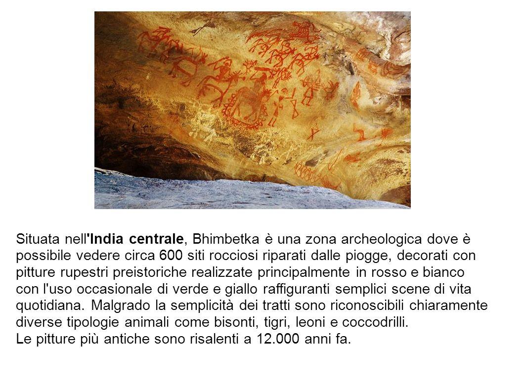 Situata nell'India centrale, Bhimbetka è una zona archeologica dove è possibile vedere circa 600 siti rocciosi riparati dalle piogge, decorati con pit