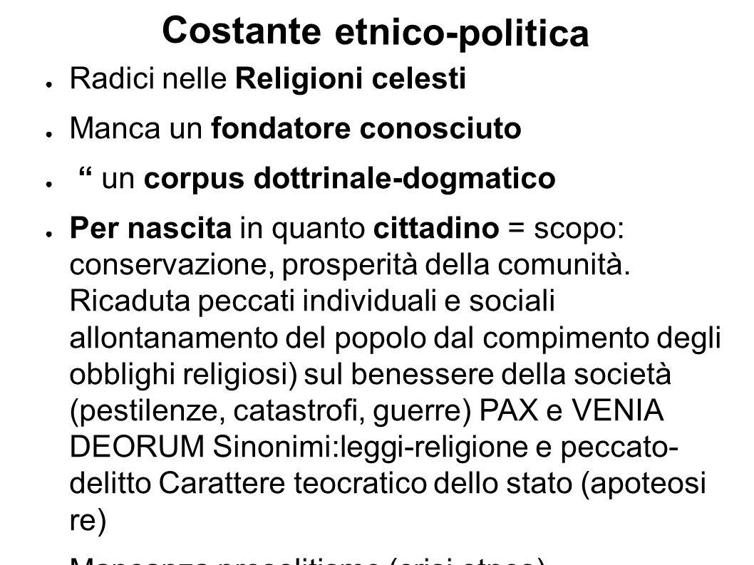 Costante etnico-politica Radici nelle Religioni celesti Manca un fondatore conosciuto un corpus dottrinale-dogmatico Per nascita in quanto cittadino =
