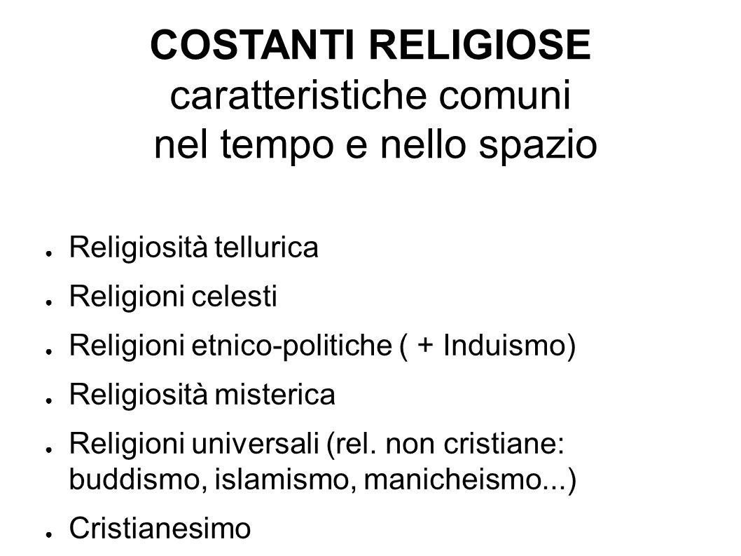 COSTANTI RELIGIOSE caratteristiche comuni nel tempo e nello spazio Religiosità tellurica Religioni celesti Religioni etnico-politiche ( + Induismo) Re