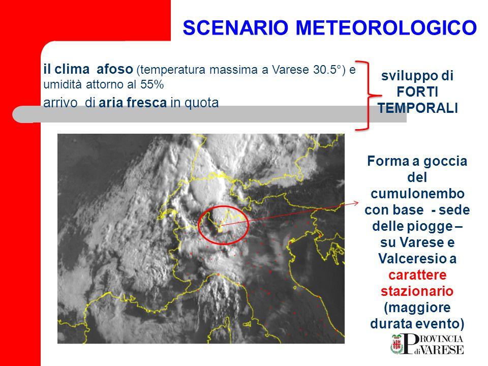 SCENARIO METEOROLOGICO VARESE CGP 158.9 (mm) INDUNO OLONA155.7 CUASSO AL MONTE 133.6 PIOGGE TOTALI ( da h 6 a h 9 del giorno 15/07/2009) Per utile confronto si tenga presente che la pioggia media per tutto il mese di Luglio a Varese ammonta a soli 100,5 mm Ore 7.00 Ore 9.00 intensità elevata (colore viola).
