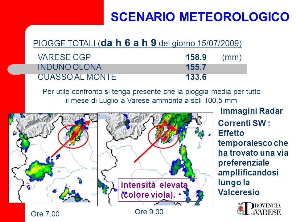 EFFETTI SCENARIO METEREOLOGICO Precipitazioni molto intense in corrispondenza del bacino idrografico a monte (sorgenti) del Fiume Olona breve Tempo di Corrivazione Immediato innalzamento livello idrometrico