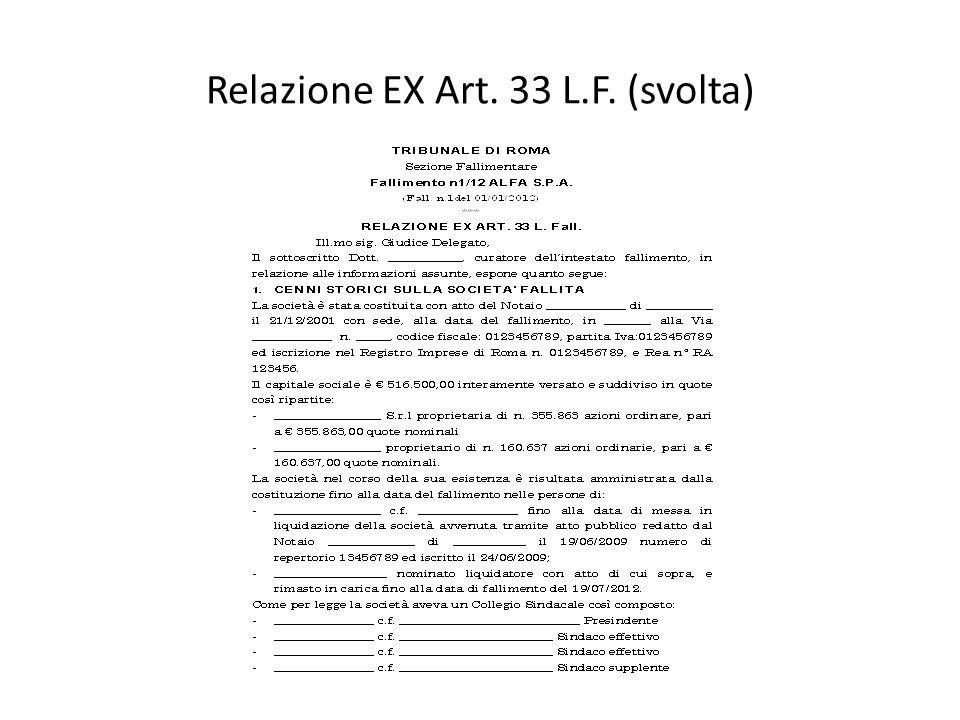 Relazione EX Art. 33 L.F. (svolta)