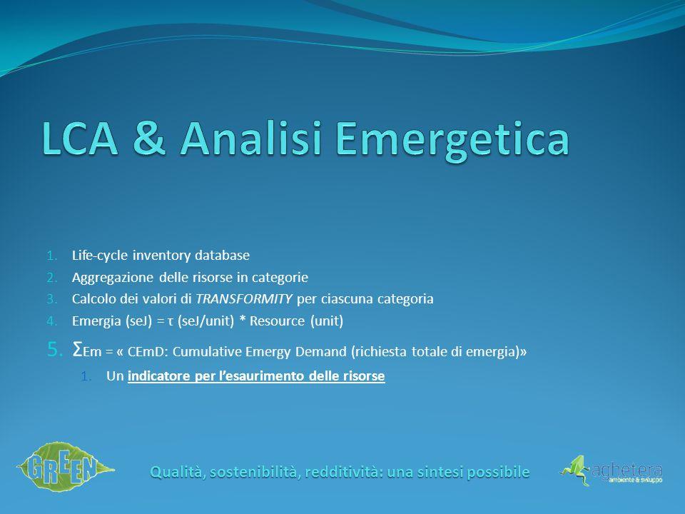 Qualità, sostenibilità, redditività: una sintesi possibile 1.Lifecycle inventory database 2.Aggregazione delle risorse in categorie 3.Calcolo dei valo