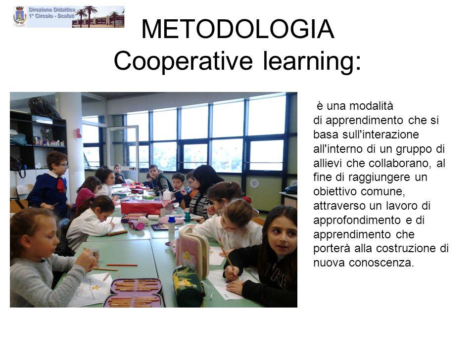 METODOLOGIA Cooperative learning: è una modalità di apprendimento che si basa sull'interazione all'interno di un gruppo di allievi che collaborano, al