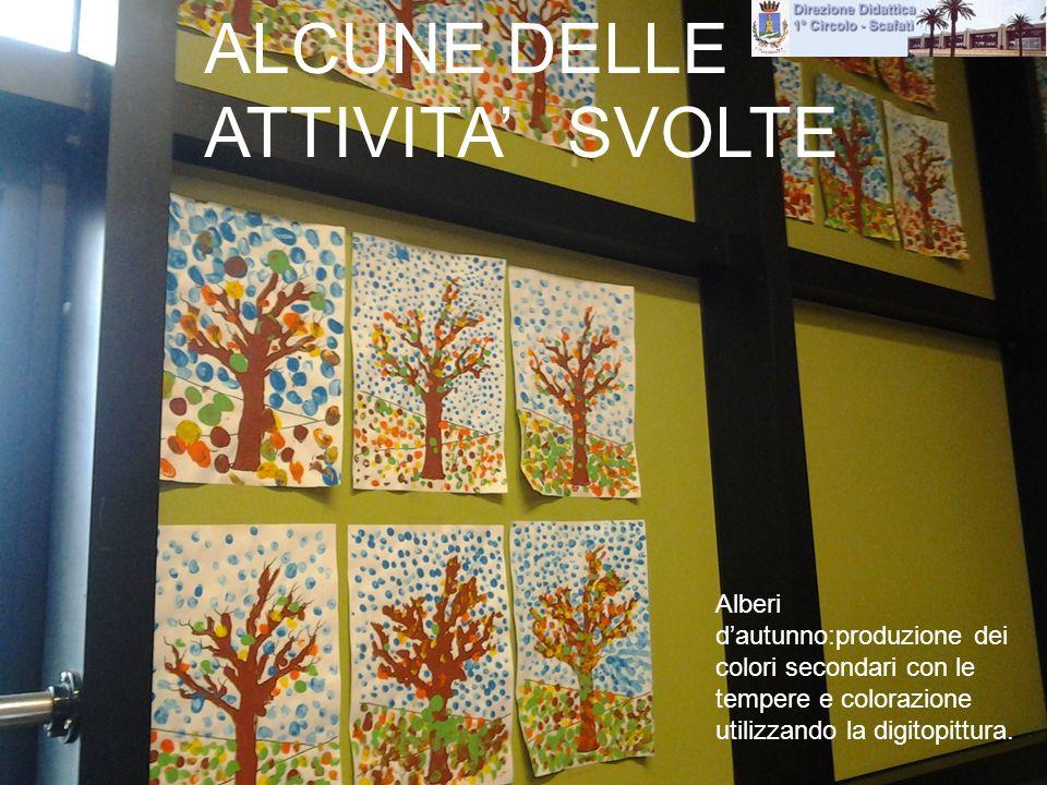 Attività: Alberi dautunno:produzione dei colori secondari con le tempere e colorazione utilizzando la digitopittura. ALCUNE DELLE ATTIVITA SVOLTE
