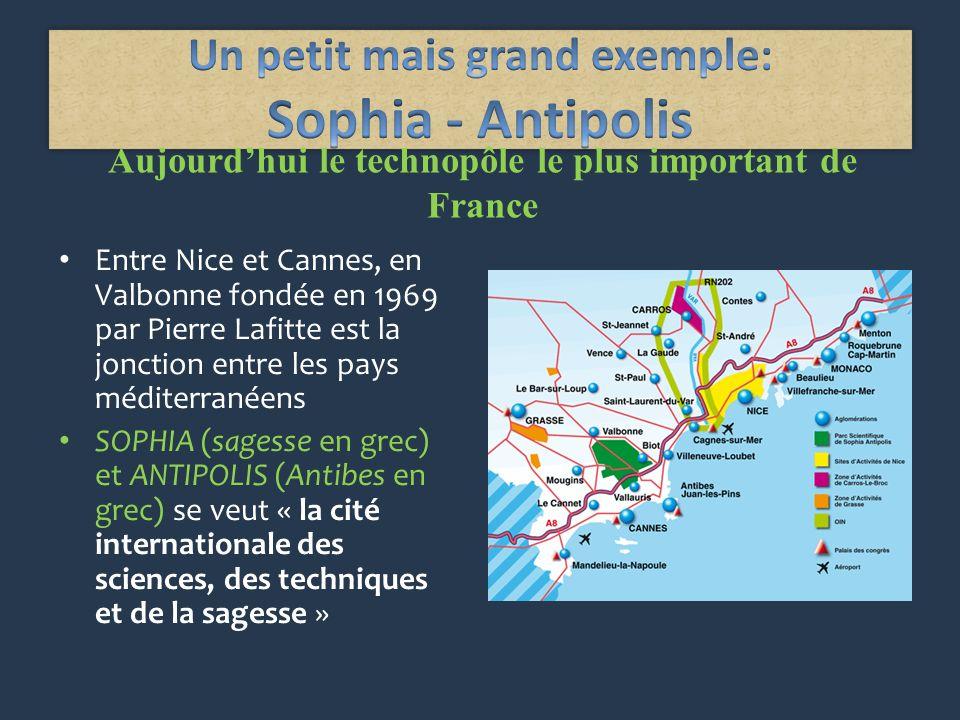 Aujourdhui le technopôle le plus important de France Entre Nice et Cannes, en Valbonne fondée en 1969 par Pierre Lafitte est la jonction entre les pays méditerranéens SOPHIA (sagesse en grec) et ANTIPOLIS (Antibes en grec) se veut « la cité internationale des sciences, des techniques et de la sagesse »