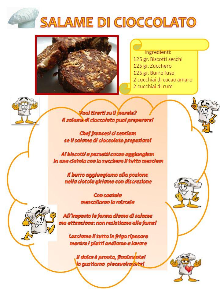 Ingredienti: 125 gr. Biscotti secchi 125 gr. Zucchero 125 gr. Burro fuso 2 cucchiai di cacao amaro 2 cucchiai di rum