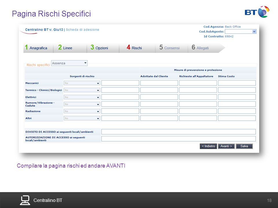 BT Compute. Services that adapt 18 Centralino BT 18 Pagina Rischi Specifici Compilare la pagina rischi ed andare AVANTI