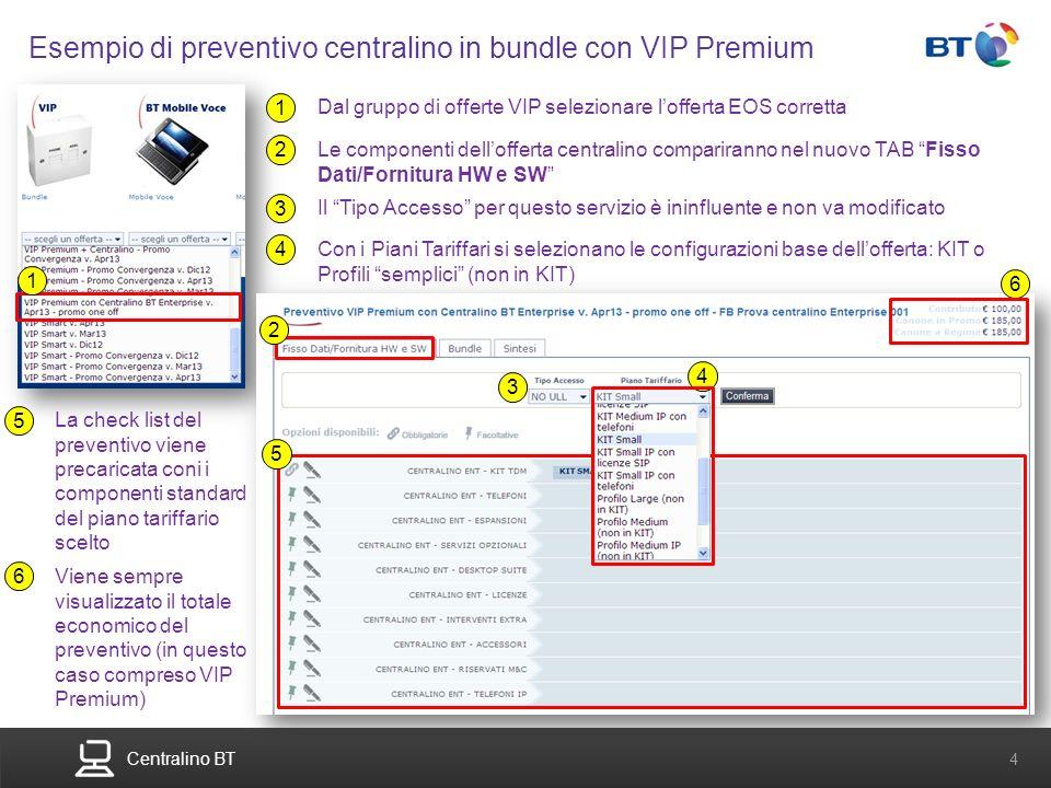 BT Compute. Services that adapt 4 Centralino BT 4 Esempio di preventivo centralino in bundle con VIP Premium 1 Dal gruppo di offerte VIP selezionare l