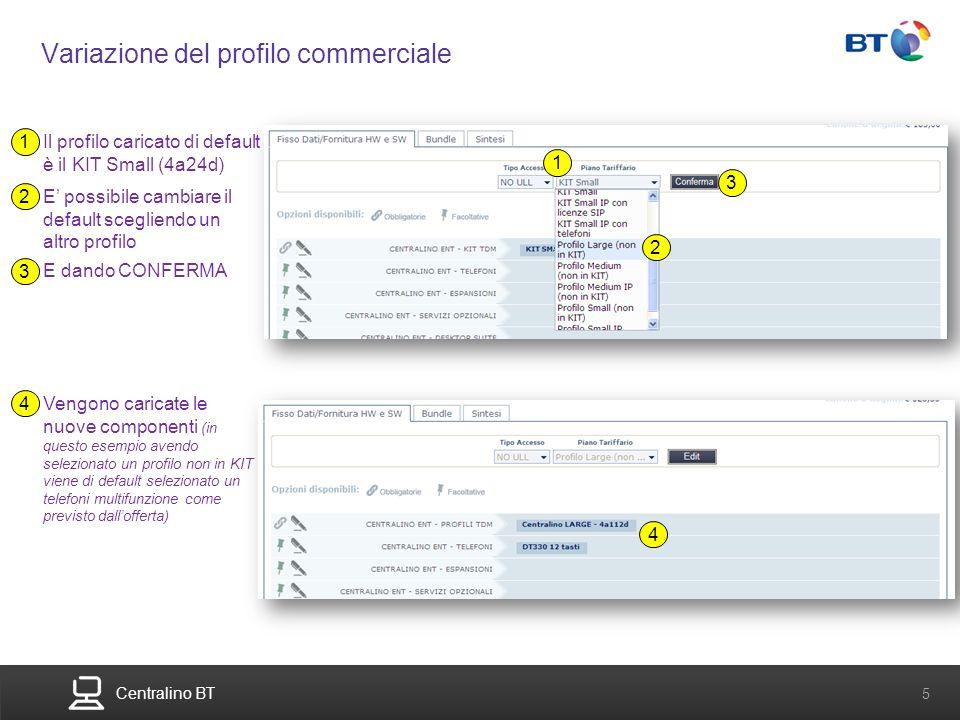 BT Compute. Services that adapt 5 Centralino BT 5 Variazione del profilo commerciale Il profilo caricato di default è il KIT Small (4a24d) 1 E possibi