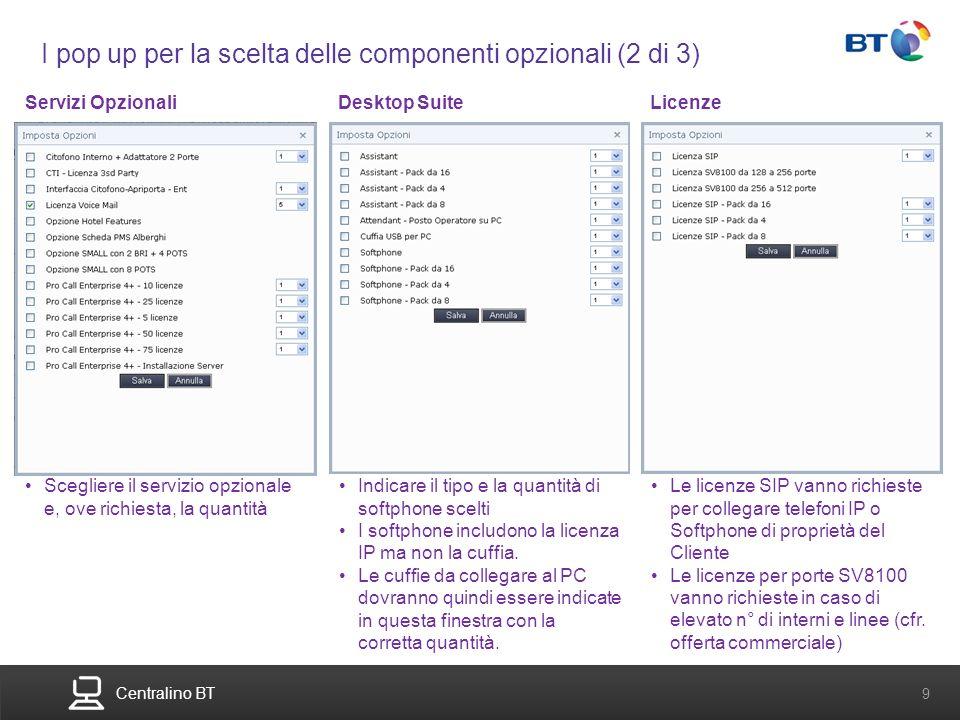 BT Compute. Services that adapt 9 Centralino BT 9 I pop up per la scelta delle componenti opzionali (2 di 3) Desktop SuiteServizi OpzionaliLicenze Sce