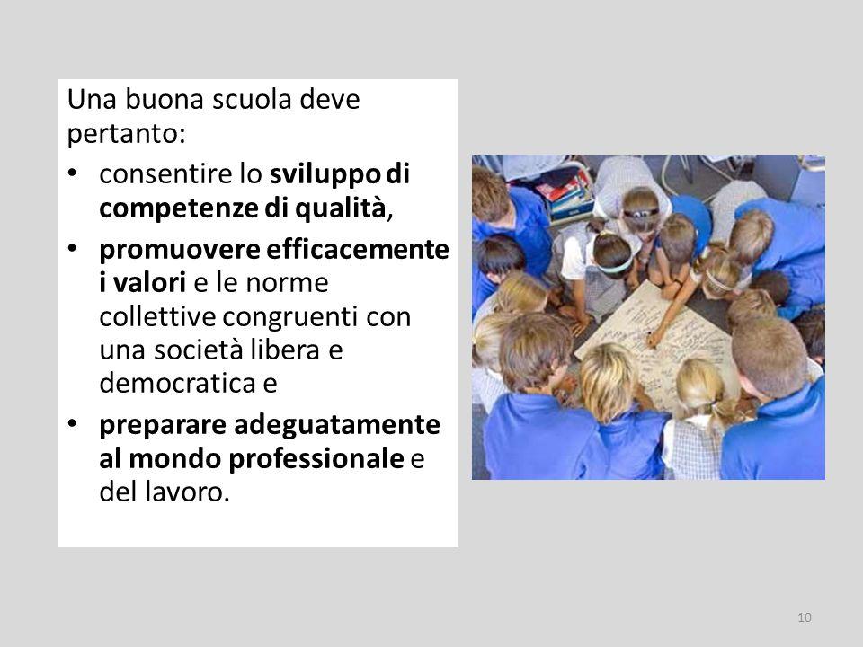 Una buona scuola deve pertanto: consentire lo sviluppo di competenze di qualità, promuovere efficacemente i valori e le norme collettive congruenti con una società libera e democratica e preparare adeguatamente al mondo professionale e del lavoro.
