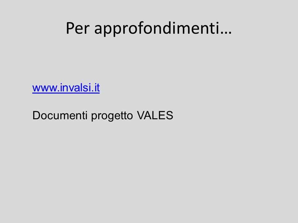 Per approfondimenti… www.invalsi.it Documenti progetto VALES