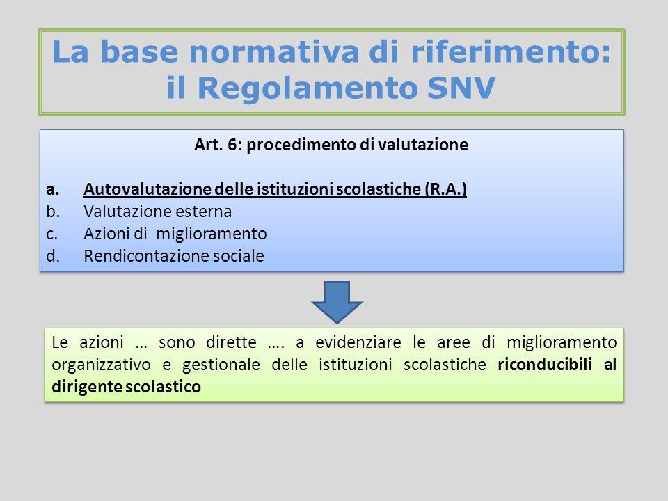La base normativa di riferimento: il Regolamento SNV Art.