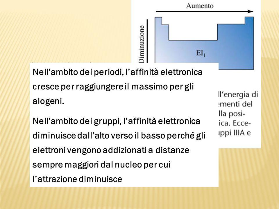 Aumenta la carica nucleare e diminuisce il raggio atomico Nellambito dei periodi, laffinità elettronica cresce per raggiungere il massimo per gli alog