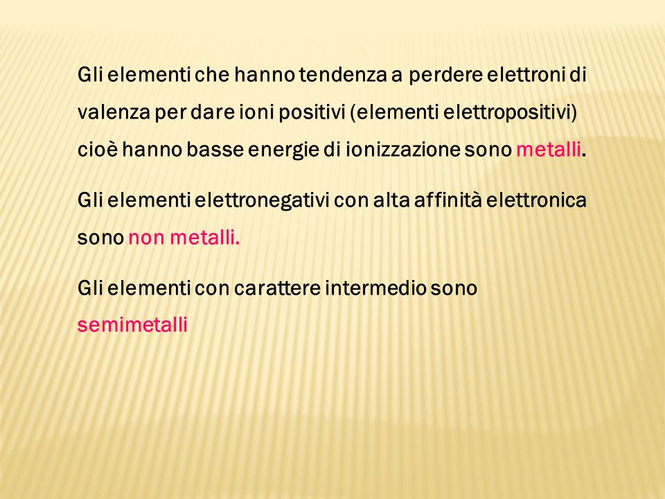 Gli elementi che hanno tendenza a perdere elettroni di valenza per dare ioni positivi (elementi elettropositivi) cioè hanno basse energie di ionizzazi