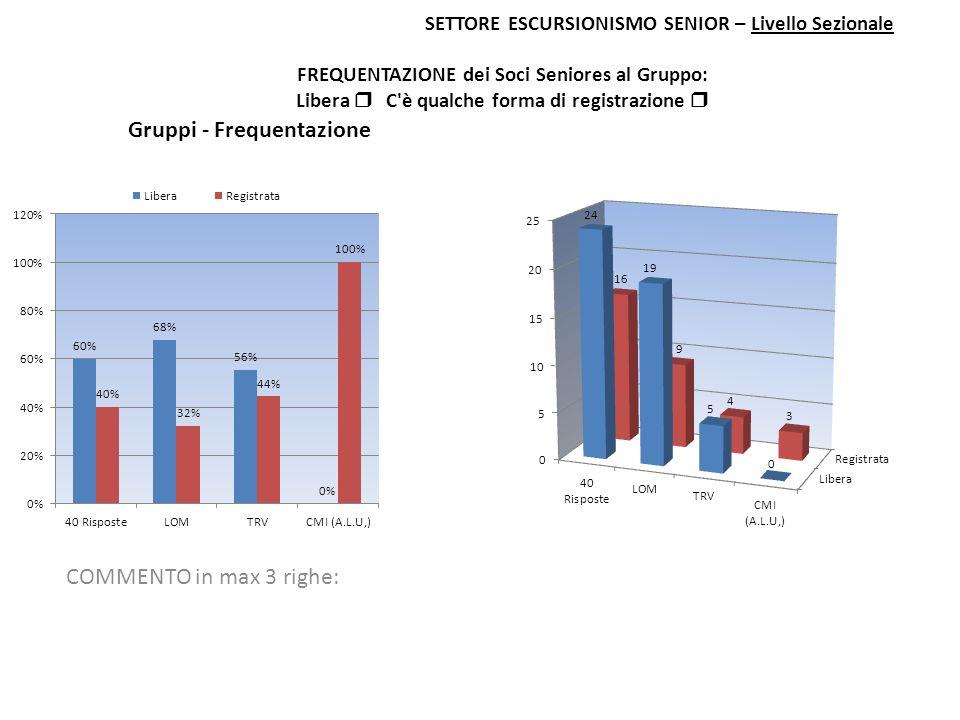 SETTORE ESCURSIONISMO SENIOR – Livello Sezionale FREQUENTAZIONE dei Soci Seniores al Gruppo: Libera C'è qualche forma di registrazione COMMENTO in max
