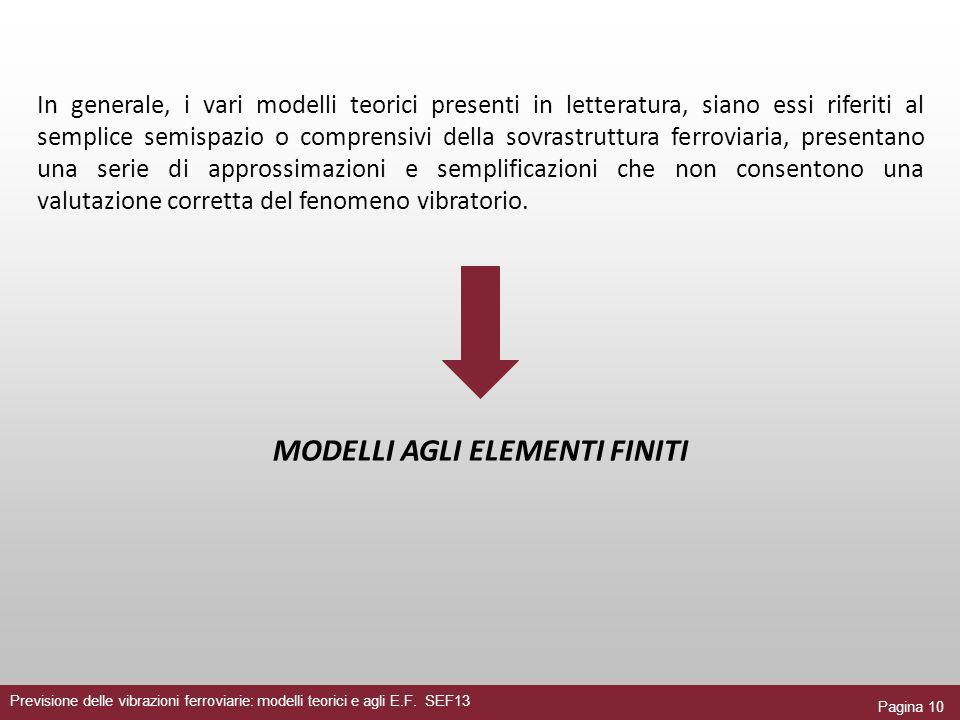 Pagina 10 Previsione delle vibrazioni ferroviarie: modelli teorici e agli E.F. SEF13 In generale, i vari modelli teorici presenti in letteratura, sian