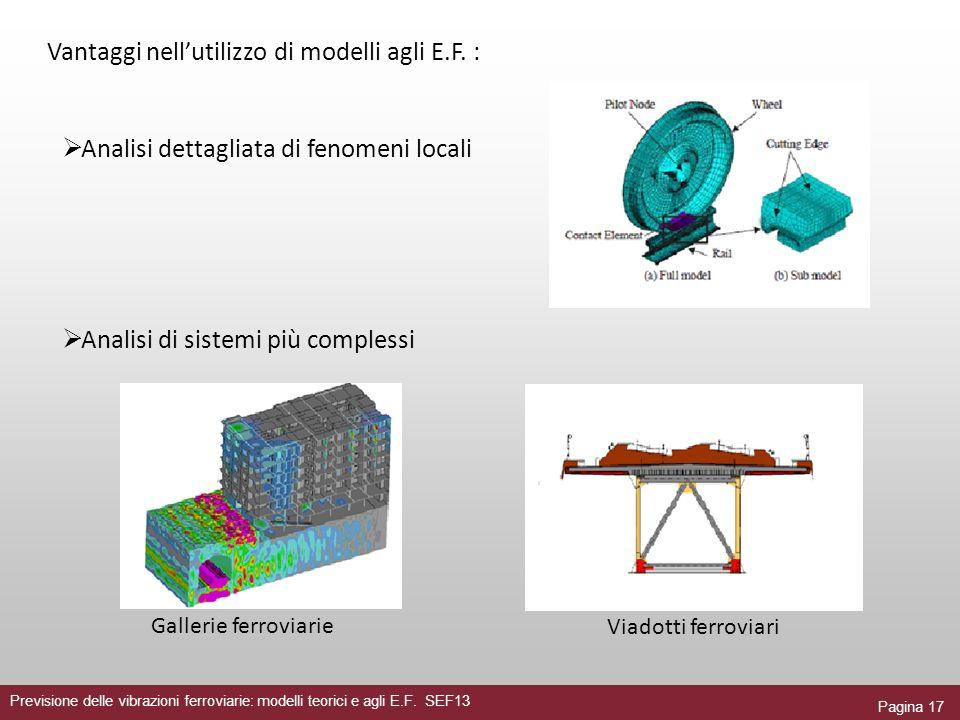 Pagina 17 Previsione delle vibrazioni ferroviarie: modelli teorici e agli E.F. SEF13 Analisi dettagliata di fenomeni locali Vantaggi nellutilizzo di m