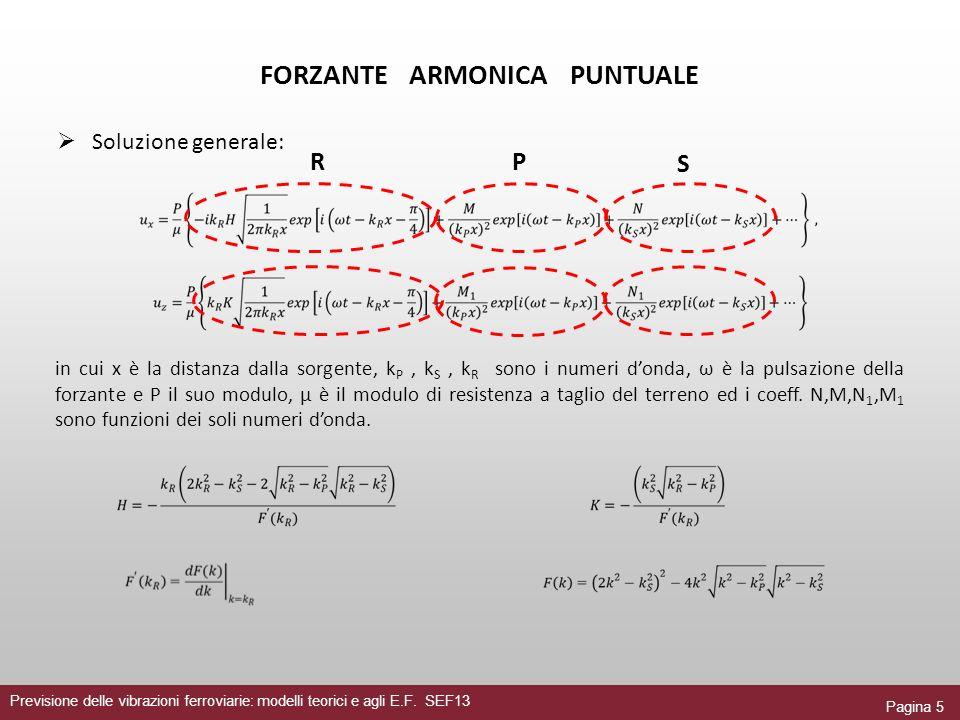 Pagina 5 Previsione delle vibrazioni ferroviarie: modelli teorici e agli E.F. SEF13 FORZANTE ARMONICA PUNTUALE Soluzione generale: in cui x è la dista