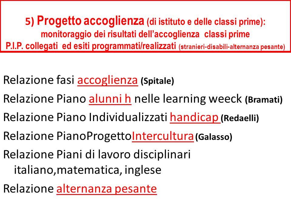 5) Progetto accoglienza (di istituto e delle classi prime): monitoraggio dei risultati dellaccoglienza classi prime P.I.P.