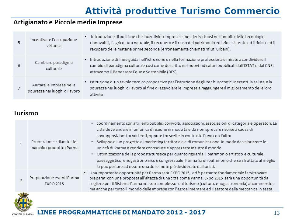 LINEE PROGRAMMATICHE DI MANDATO 2012 - 2017 Attività produttive Turismo Commercio 13 Artigianato e Piccole medie Imprese Turismo 5 Incentivare loccupa