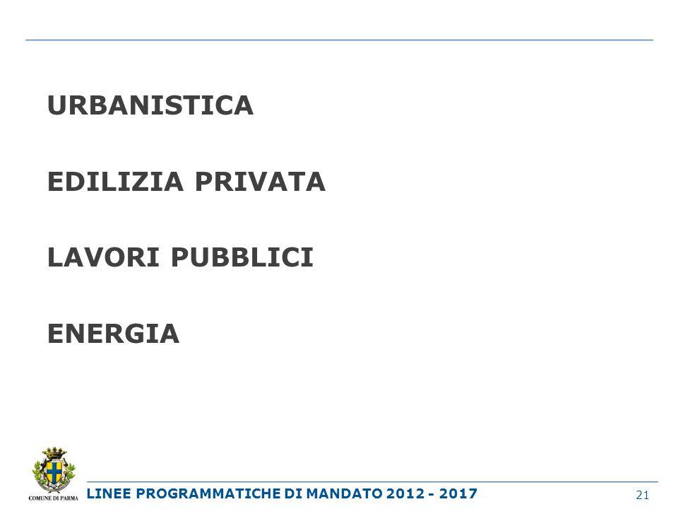 LINEE PROGRAMMATICHE DI MANDATO 2012 - 2017 URBANISTICA EDILIZIA PRIVATA LAVORI PUBBLICI ENERGIA 21