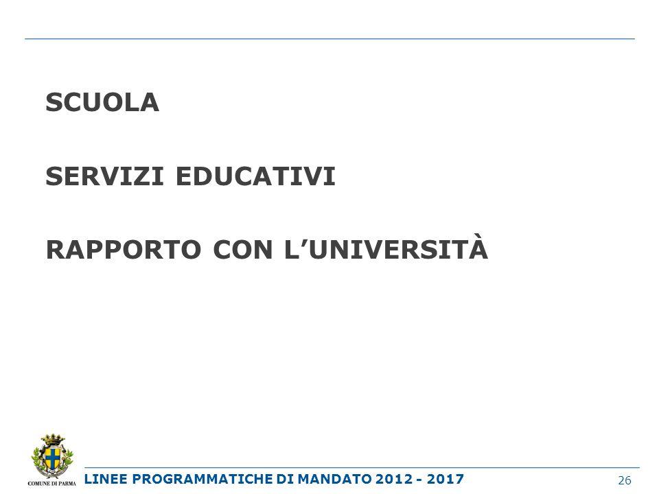 LINEE PROGRAMMATICHE DI MANDATO 2012 - 2017 SCUOLA SERVIZI EDUCATIVI RAPPORTO CON LUNIVERSITÀ 26