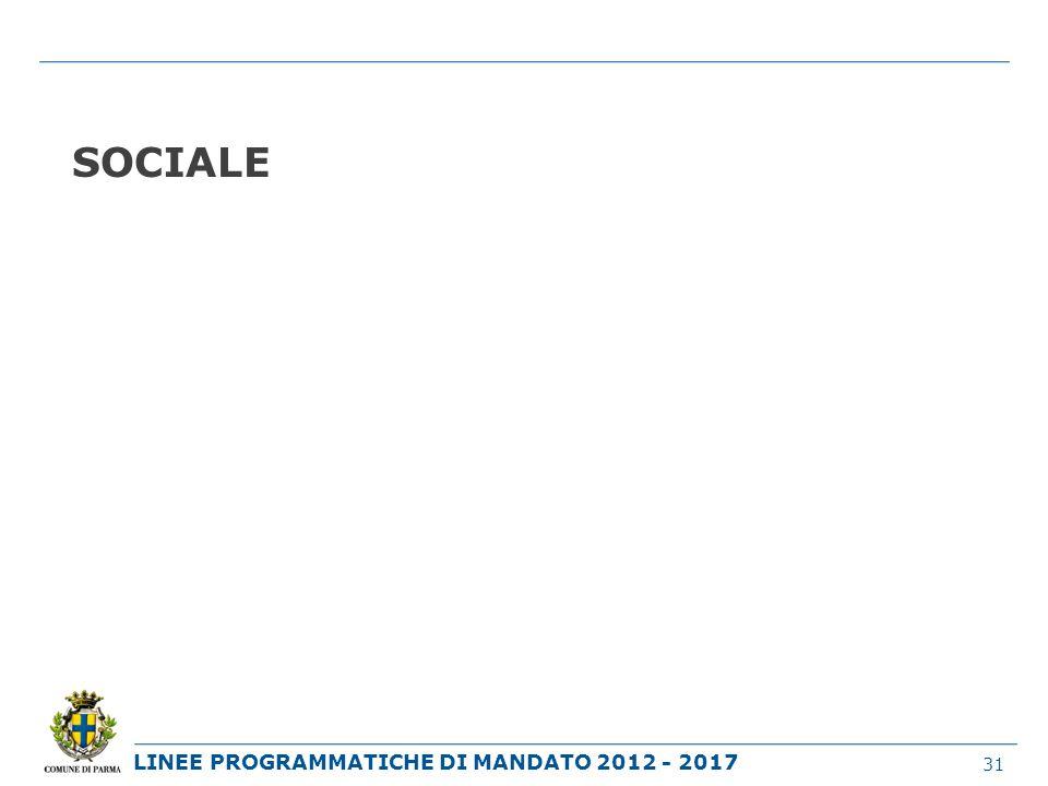 LINEE PROGRAMMATICHE DI MANDATO 2012 - 2017 SOCIALE 31