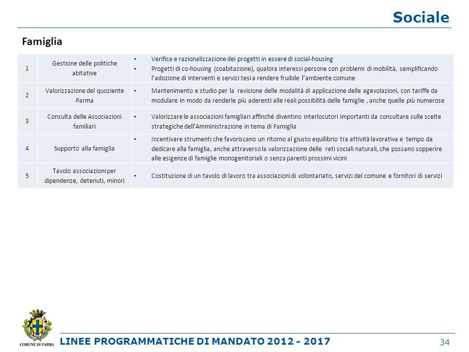 LINEE PROGRAMMATICHE DI MANDATO 2012 - 2017 Sociale 34 1 Gestione delle politiche abitative Verifica e razionalizzazione dei progetti in essere di soc