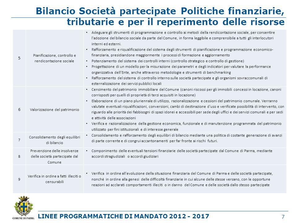 LINEE PROGRAMMATICHE DI MANDATO 2012 - 2017 Bilancio Società partecipate Politiche finanziarie, tributarie e per il reperimento delle risorse 7 5 Pian