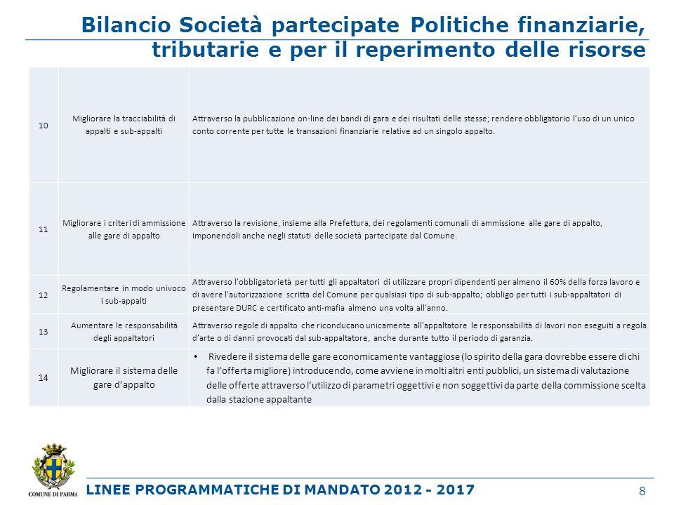 LINEE PROGRAMMATICHE DI MANDATO 2012 - 2017 Bilancio Società partecipate Politiche finanziarie, tributarie e per il reperimento delle risorse 8 10 Mig
