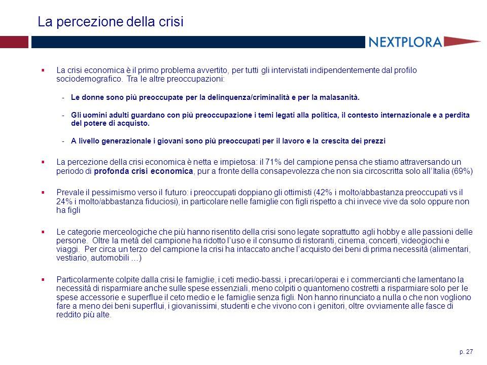 p. 27 La percezione della crisi La crisi economica è il primo problema avvertito, per tutti gli intervistati indipendentemente dal profilo sociodemogr