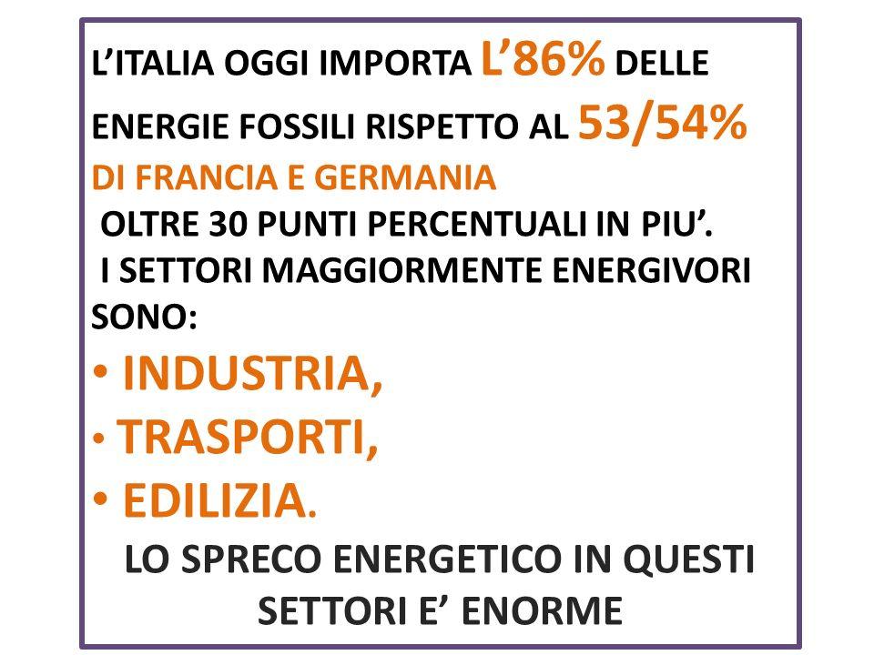 LITALIA OGGI IMPORTA L86% DELLE ENERGIE FOSSILI RISPETTO AL 53/54% DI FRANCIA E GERMANIA OLTRE 30 PUNTI PERCENTUALI IN PIU.