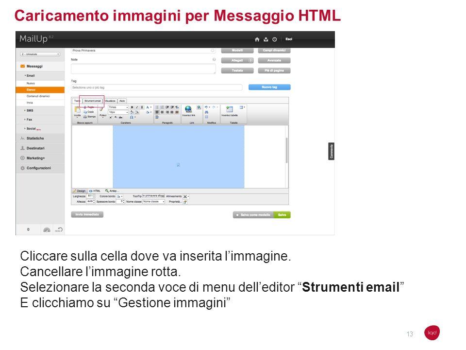 Caricamento immagini per Messaggio HTML Cliccare sulla cella dove va inserita limmagine. Cancellare limmagine rotta. Selezionare la seconda voce di me