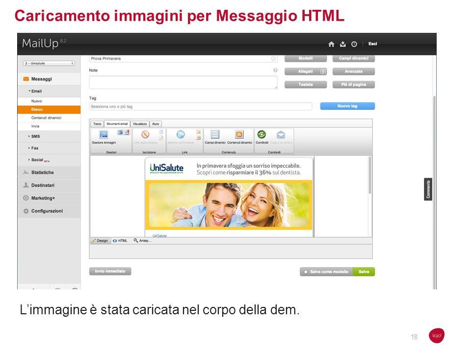 Caricamento immagini per Messaggio HTML Limmagine è stata caricata nel corpo della dem. 18