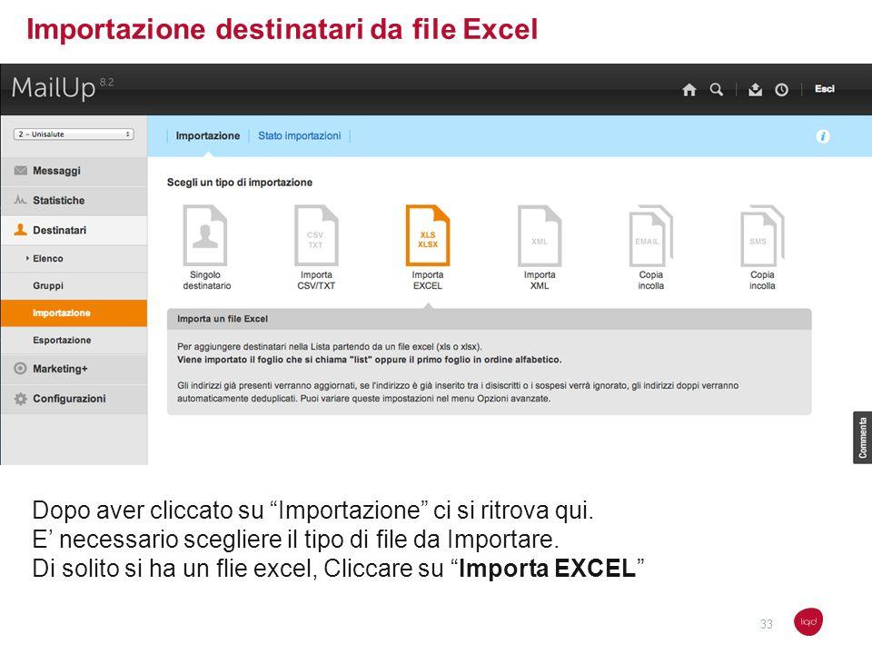 Importazione destinatari da file Excel Dopo aver cliccato su Importazione ci si ritrova qui. E necessario scegliere il tipo di file da Importare. Di s