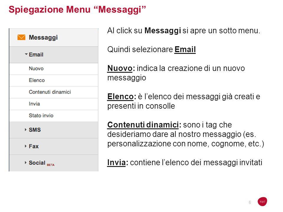 Spiegazione Menu Messaggi Al click su Messaggi si apre un sotto menu. Quindi selezionare Email Nuovo: indica la creazione di un nuovo messaggio Elenco
