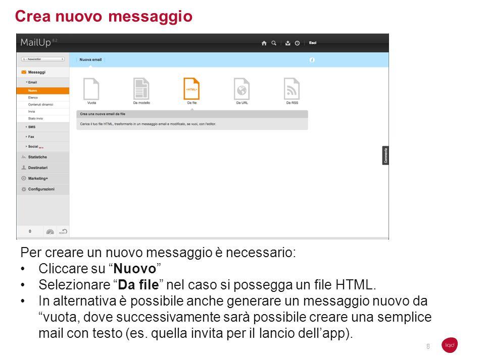 Crea nuovo messaggio Per creare un nuovo messaggio è necessario: Cliccare su Nuovo Selezionare Da file nel caso si possegga un file HTML. In alternati