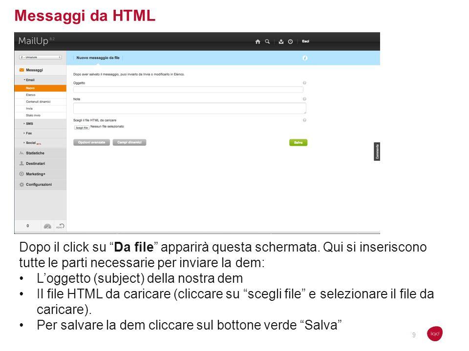 Messaggi da HTML Dopo il click su Da file apparirà questa schermata. Qui si inseriscono tutte le parti necessarie per inviare la dem: Loggetto (subjec