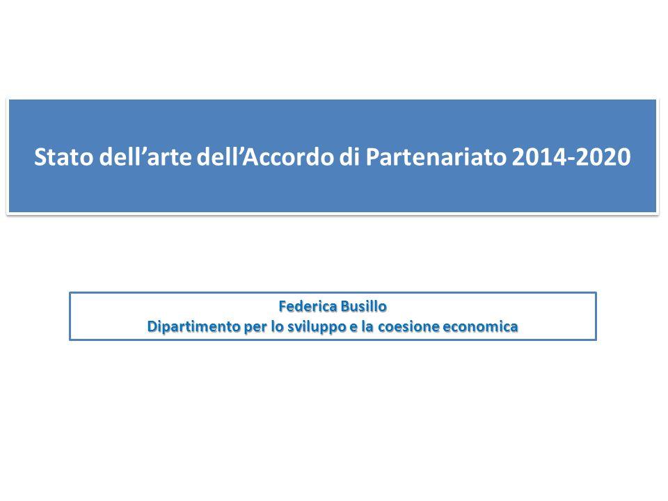 Stato dellarte dellAccordo di Partenariato 2014-2020 Federica Busillo Dipartimento per lo sviluppo e la coesione economica