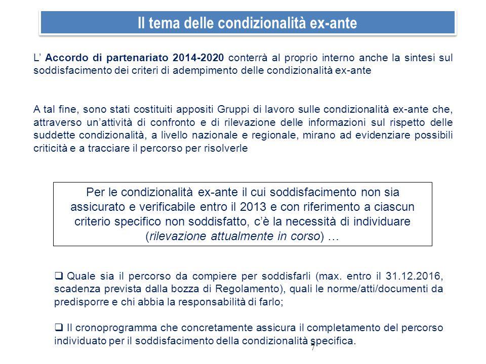 7 Il tema delle condizionalità ex-ante L Accordo di partenariato 2014-2020 conterrà al proprio interno anche la sintesi sul soddisfacimento dei criter