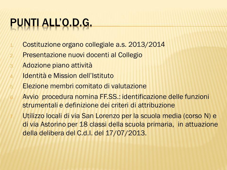 1. Costituzione organo collegiale a.s. 2013/2014 2. Presentazione nuovi docenti al Collegio 3. Adozione piano attività 4. Identità e Mission dellIstit