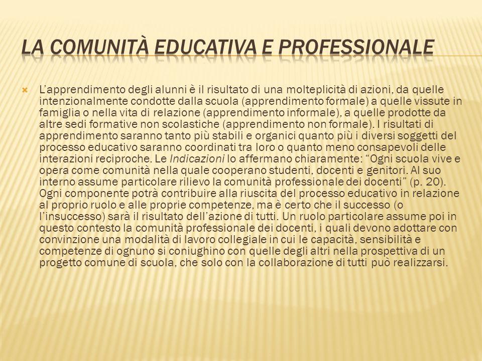 Lapprendimento degli alunni è il risultato di una molteplicità di azioni, da quelle intenzionalmente condotte dalla scuola (apprendimento formale) a q