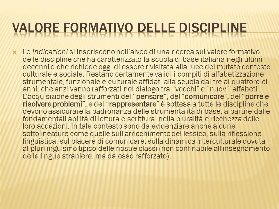 Le Indicazioni si inseriscono nellalveo di una ricerca sul valore formativo delle discipline che ha caratterizzato la scuola di base italiana negli ul